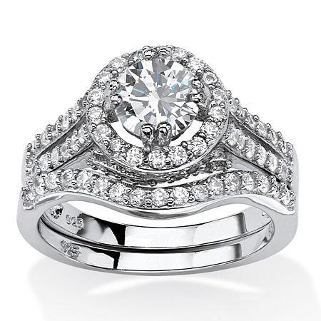 DiamonArt Womens 1 5/8 CT. T.W. White Cubic Zirconia Platinum Over Silver Round Bridal Set, 7 , No Color Family