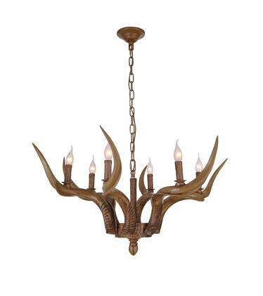 YA26C35BR 6-Light Antler Lighting with Polyresin and Metal Materials and 60 Watts in Natural Horn