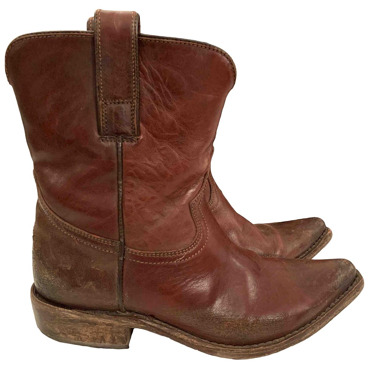 Golden Goose - Boots   pour femme en cuir - marron