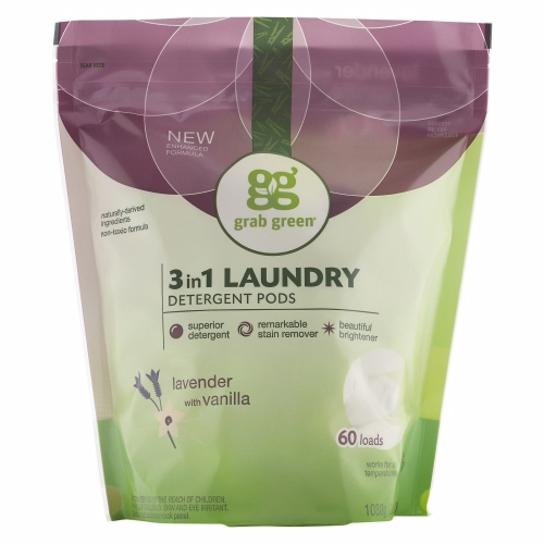3 in 1 Laundry Detergent Pods Lavender Vanilla 60 Loads by Grab Green