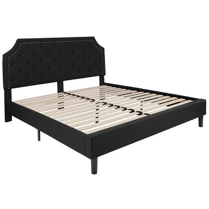 Brighton Collection SL-BK4-K-BK-GG King Size Platform Bed with Gold Nailhead Trim  Transitional Style  Wood Support Slats  Center Support Metal Leg