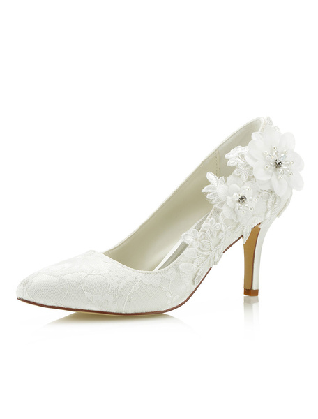 Milanoo Lace Wedding Shoes Ivory Pointed Toe Flowers Beaded Slip On Bridal Shoes High Heels