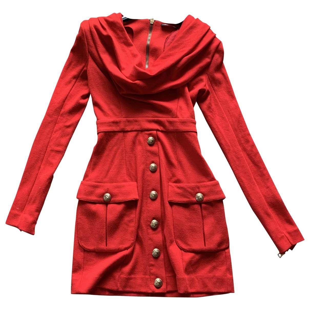Balmain - Robe   pour femme en coton - elasthane - rouge