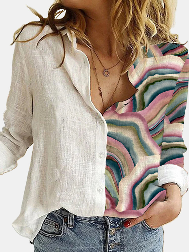 Landscape Printed Long Sleeve Turn-down Collar Patchwork Blouse For Women