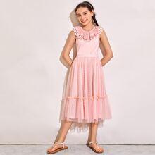 Girls Layered Ruffle Trim Top and Dobby Mesh Overlay Skirt Set