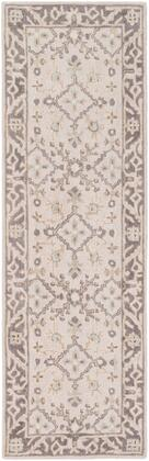 Castille CTL-2000 2' x 3' Rectangle Traditional Rug in Taupe  Charcoal  Ivory