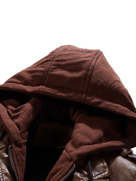 Milanoo Chaqueta de cuero para hombre Chaqueta con cremallera de cuero PU Chaqueta con capucha inteligente
