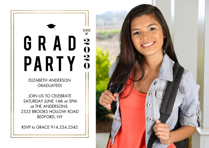 Graduation Invitations 5x7 Cards, Premium Cardstock 120lb with Elegant Corners, Card & Stationery -2020 Grad Party Woodgrain by Tumbalina