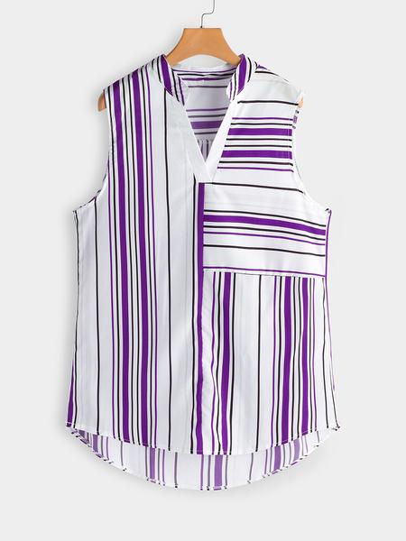 Yoins Plus Size Purple Stripe V-neck Tank Top