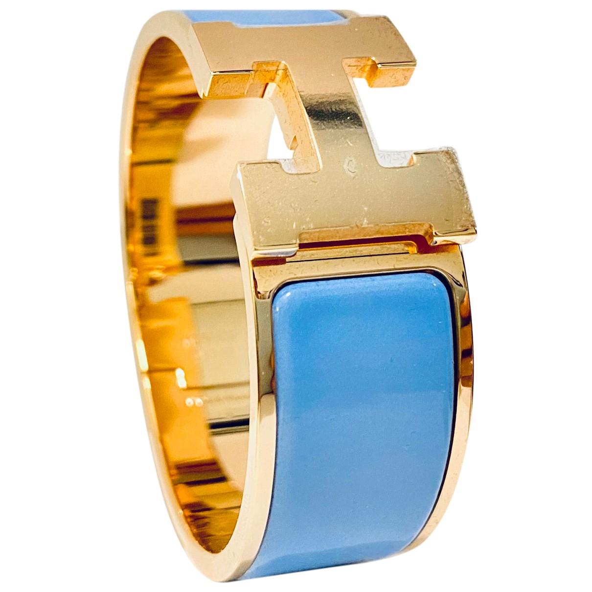 Hermes - Bracelet Clic H pour femme en plaque or - bleu