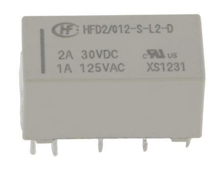 Hongfa Europe GMBH DPDT PCB Mount Latching Relay - 3 A, 3 A, 12V dc