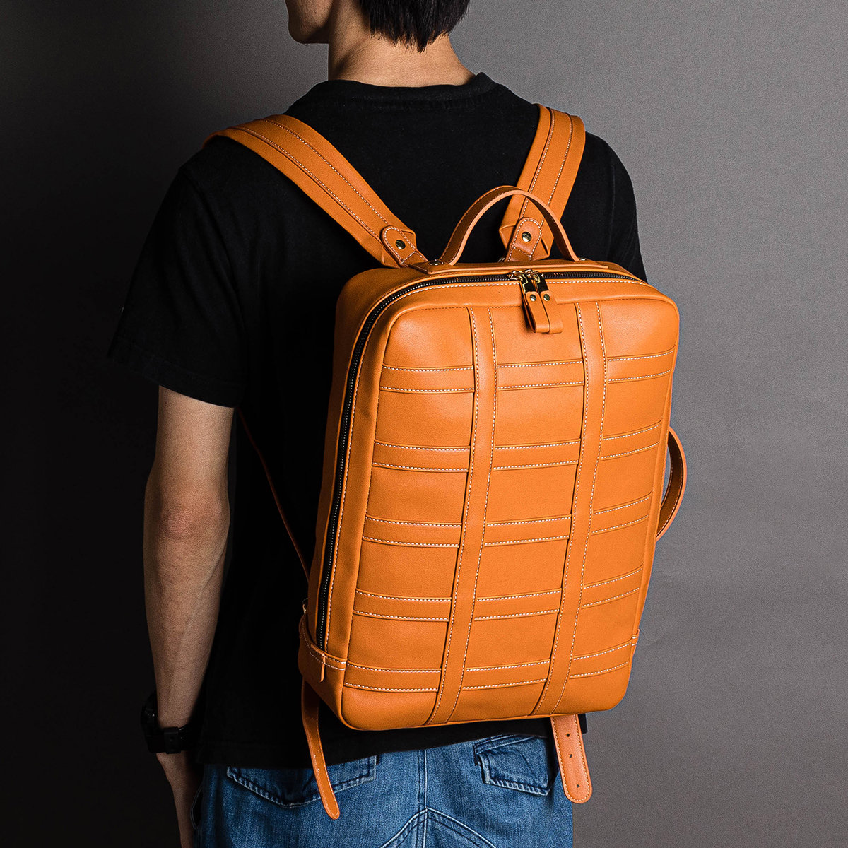 Men PU Leather Functional Briefcase Universal Laptop Backpack
