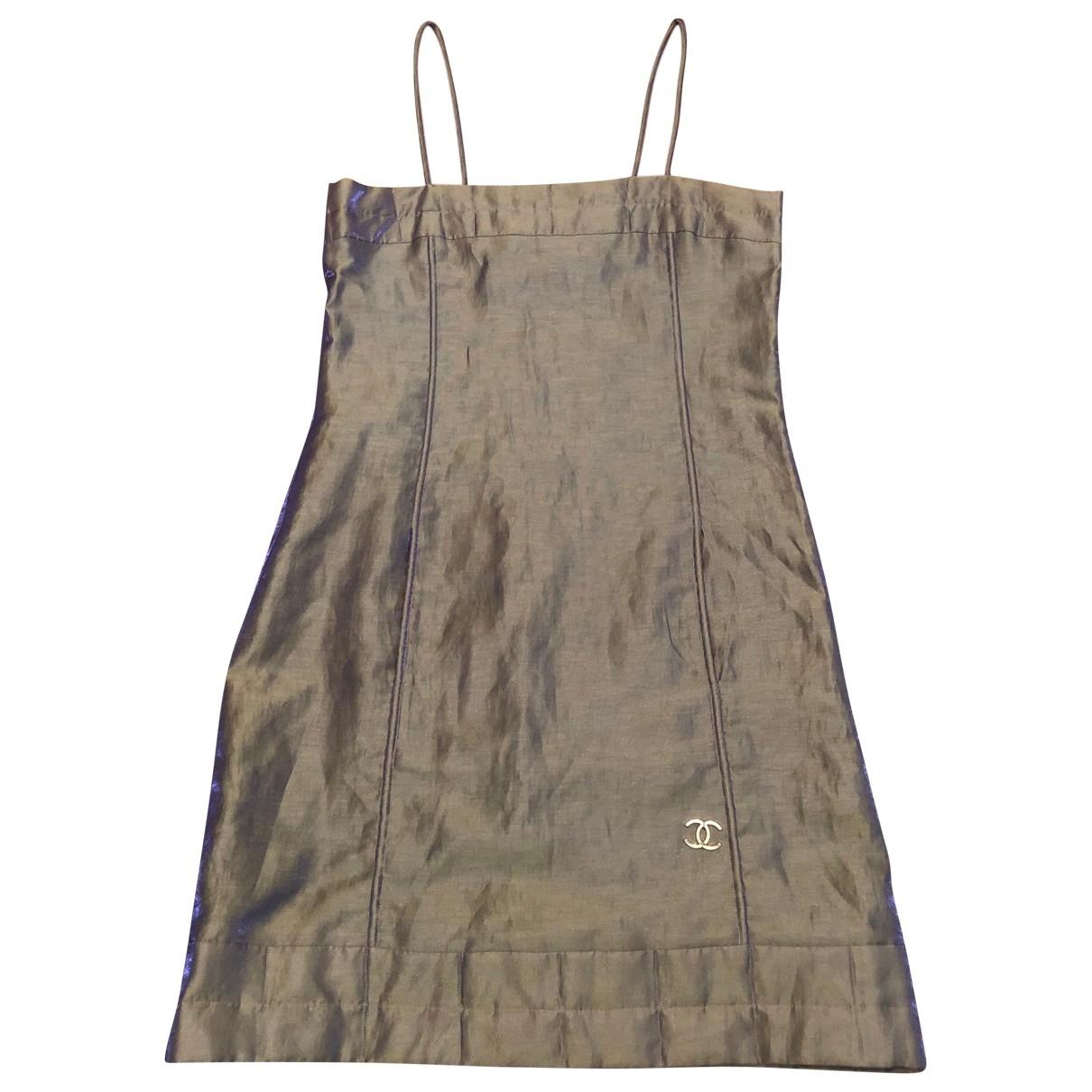 Chanel - Robe   pour femme en lin - dore
