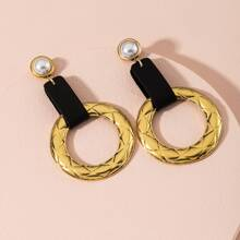 Faux Pearl Decor Embossed Round Drop Earrings