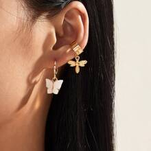 2pairs Bee & Butterfly Charm Earrings