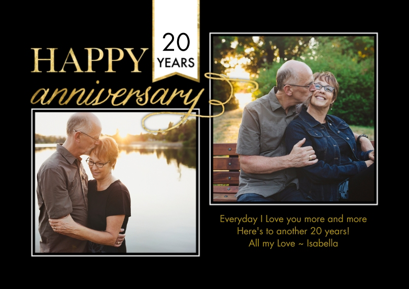 Anniversary Invitations 5x7 Cards, Standard Cardstock 85lb, Card & Stationery -Anniversary Banner Flag