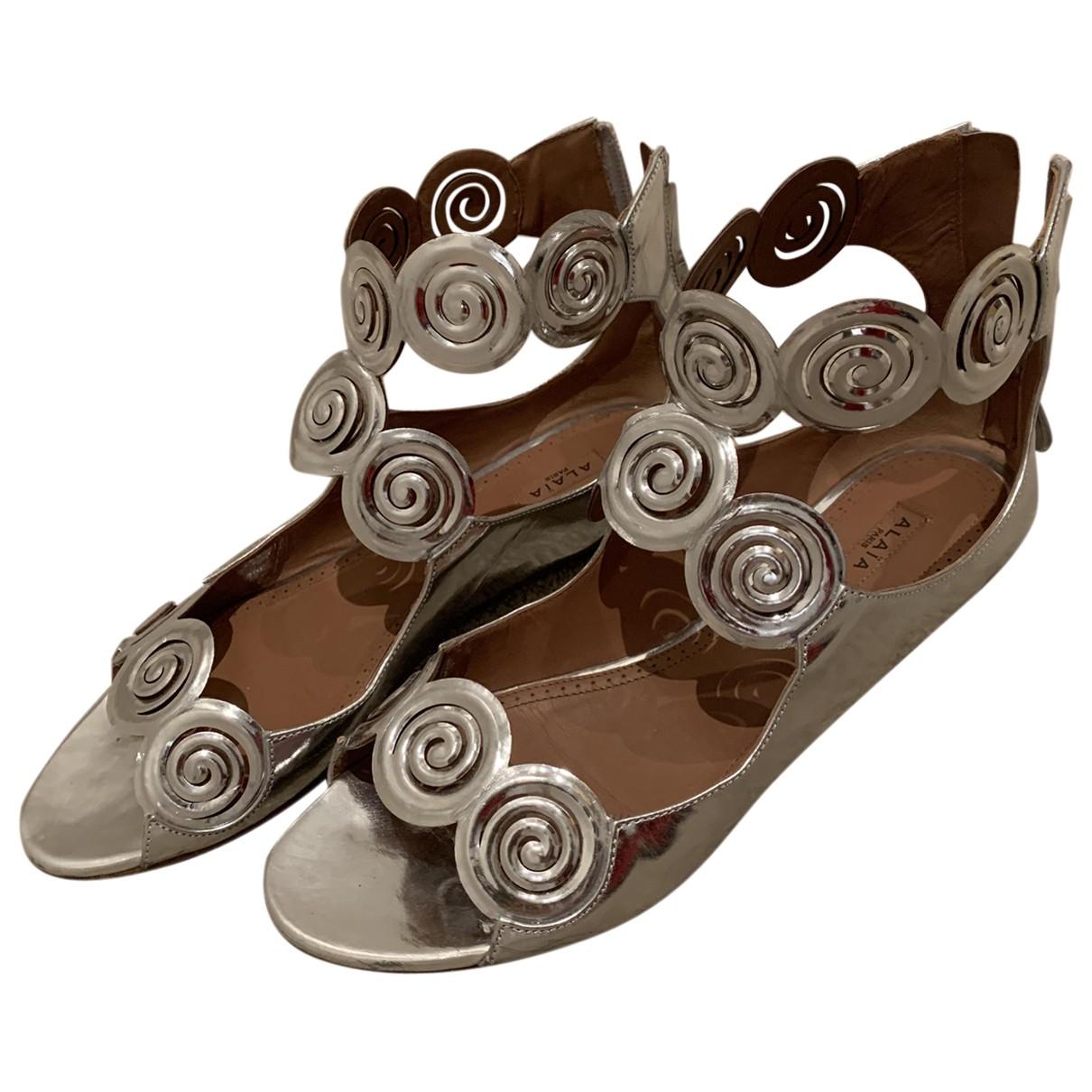Alaia - Sandales   pour femme en cuir - argente