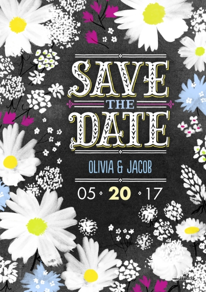 Save the Date Flat Matte Photo Paper Cards with Envelopes, 5x7, Card & Stationery -Brushy Floral Save the Date