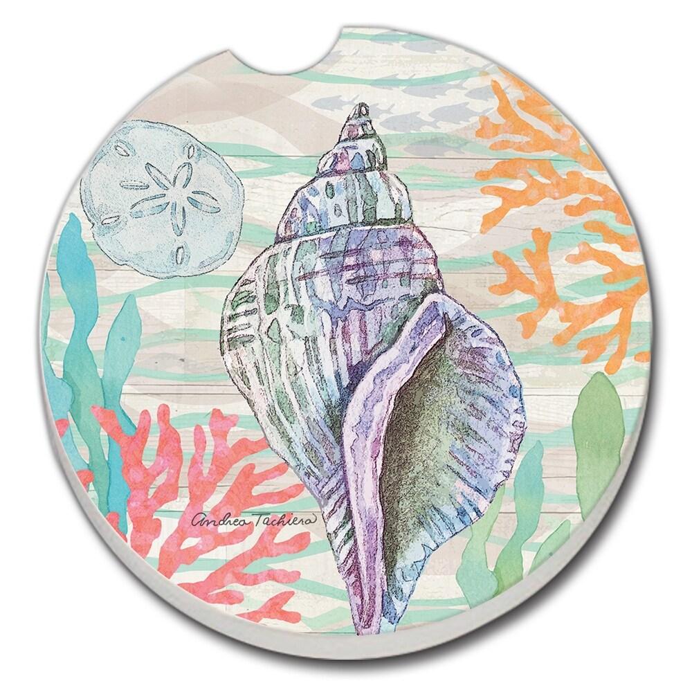 Counterart Absorbent Stoneware Car Coaster, Salt & Sea - Conch, Set of 2 - 2.5 (2.5)