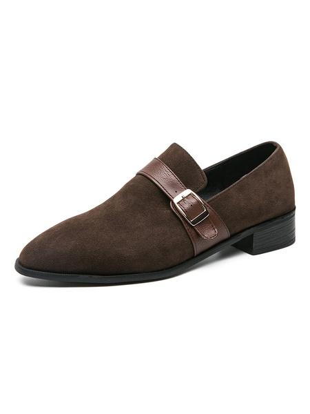 Milanoo Mens Loafer Shoes Black Fashion PU Leather Buckle Artwork Slip-On