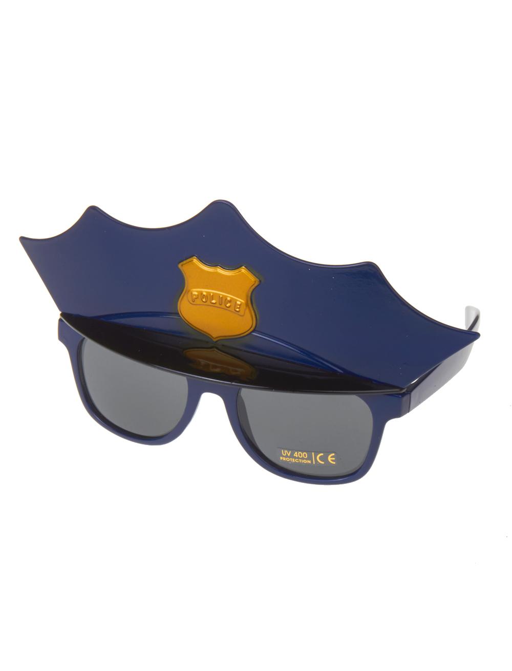 Kostuemzubehor Brille mit Polizeimuetze Farbe: blau