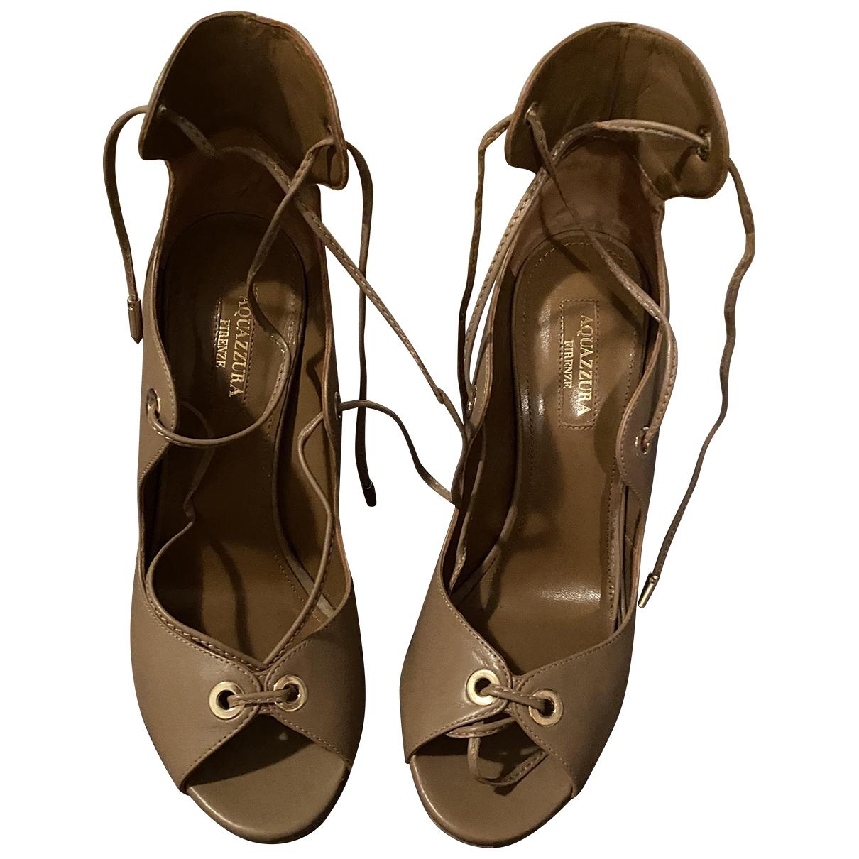 Aquazzura - Sandales   pour femme en cuir - camel
