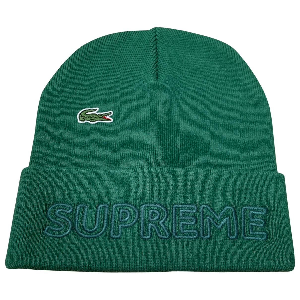 Lacoste X Supreme - Chapeau & Bonnets   pour homme en laine - vert