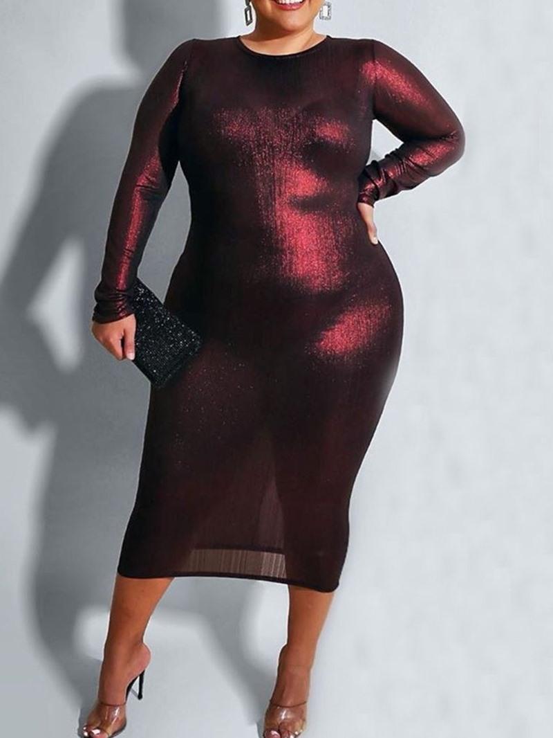 Ericdress Mid-Calf Long Sleeve Round Neck Plain Pullover Women's Dress