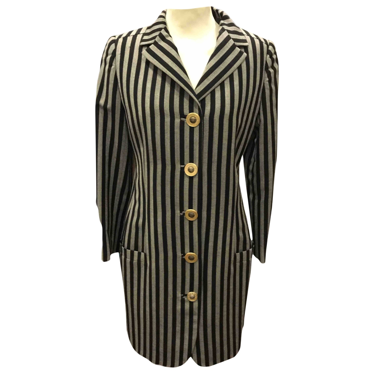 Gianni Versace \N Black Wool coat for Women 40 IT