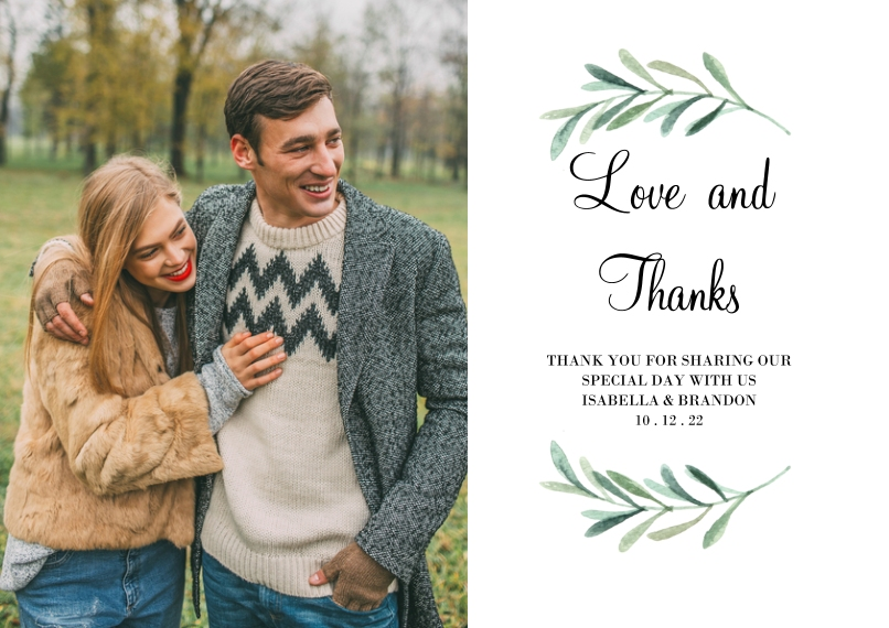 Wedding Thank You Flat Glossy Photo Paper Cards with Envelopes, 5x7, Card & Stationery -Wedding Thank You Foliage Wreath by Tumbalina