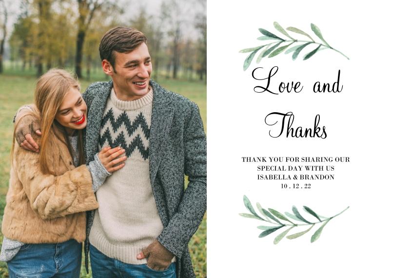 Wedding Thank You 5x7 Cards, Premium Cardstock 120lb with Elegant Corners, Card & Stationery -Wedding Thank You Foliage Wreath by Tumbalina