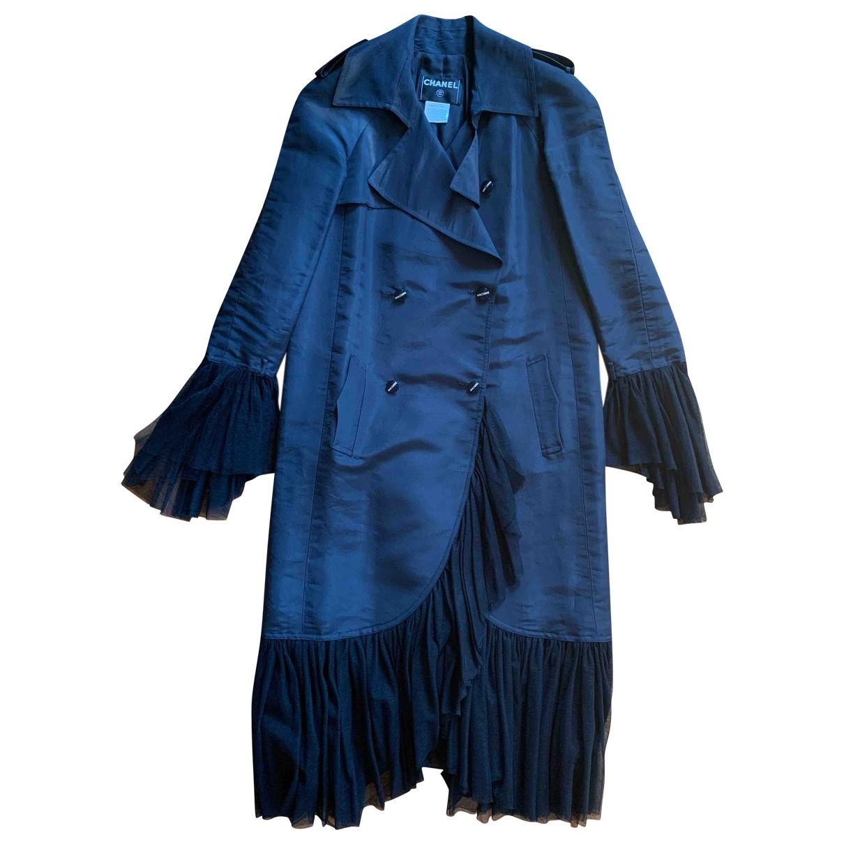 Chanel \N Black Silk Trench coat for Women 36 FR