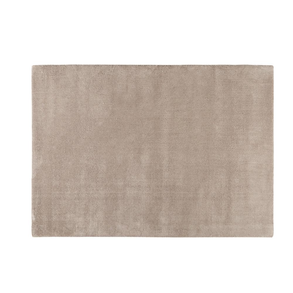 Kurzflorteppich SOFT aus Wolle, 140 x 200cm, helltaupe
