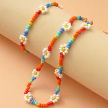 1 Stueck Halskette mit Blumen Dekor und Perlen & 1 Stueck Armband
