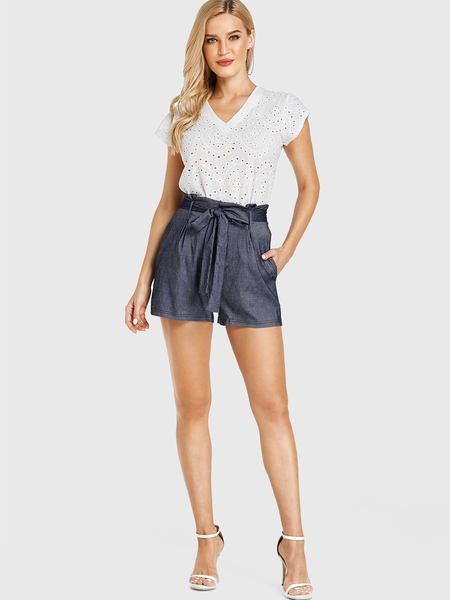 Yoins Dark Blue Belt Pocket Design Middle-waisted Shorts