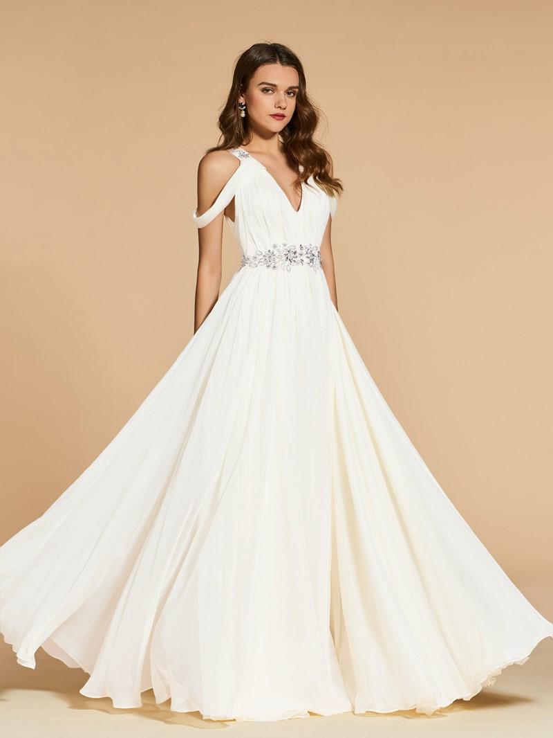 Ericdress A Line Beaded Open Shoulder Prom Dress