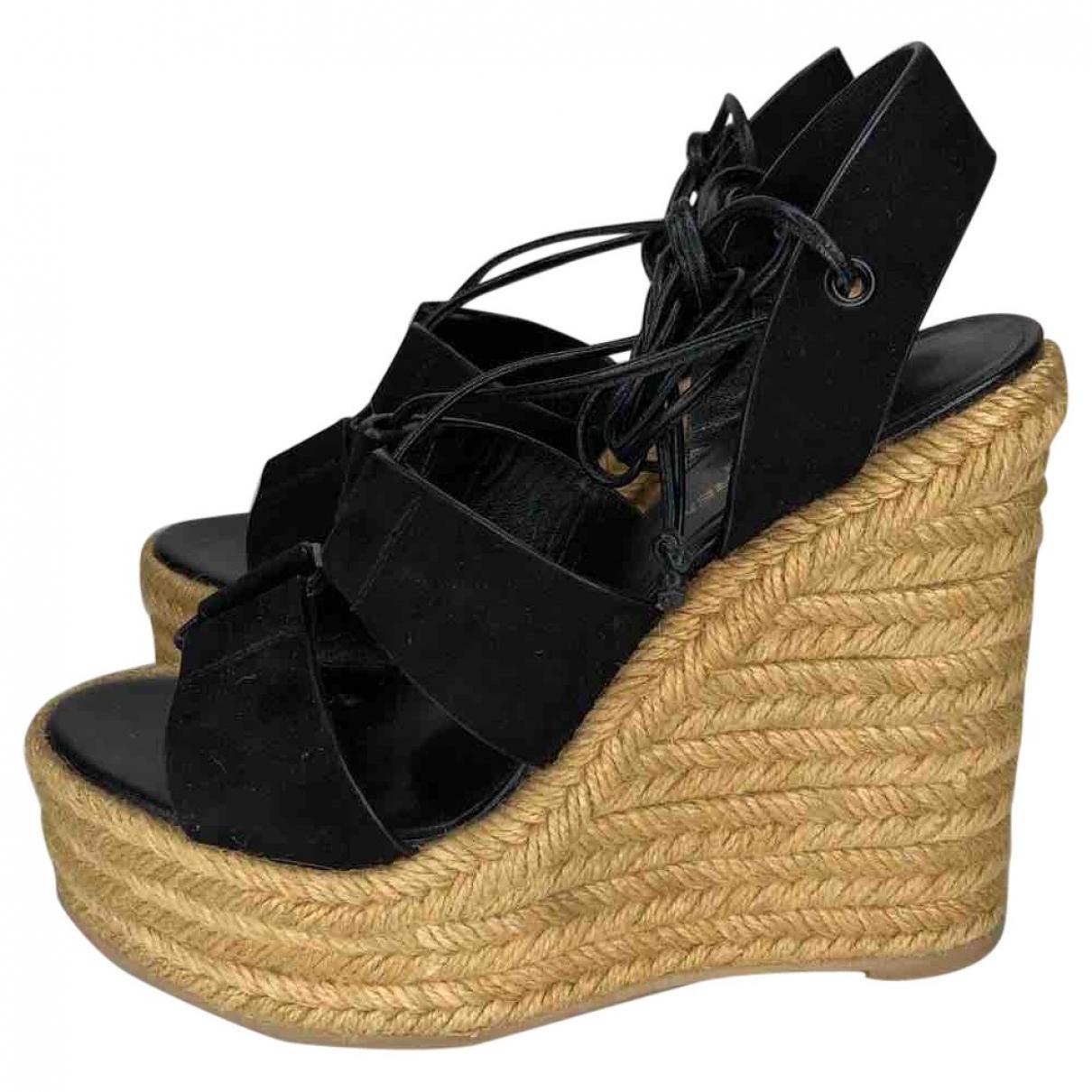 Saint Laurent \N Black Suede Sandals for Women 37.5 EU