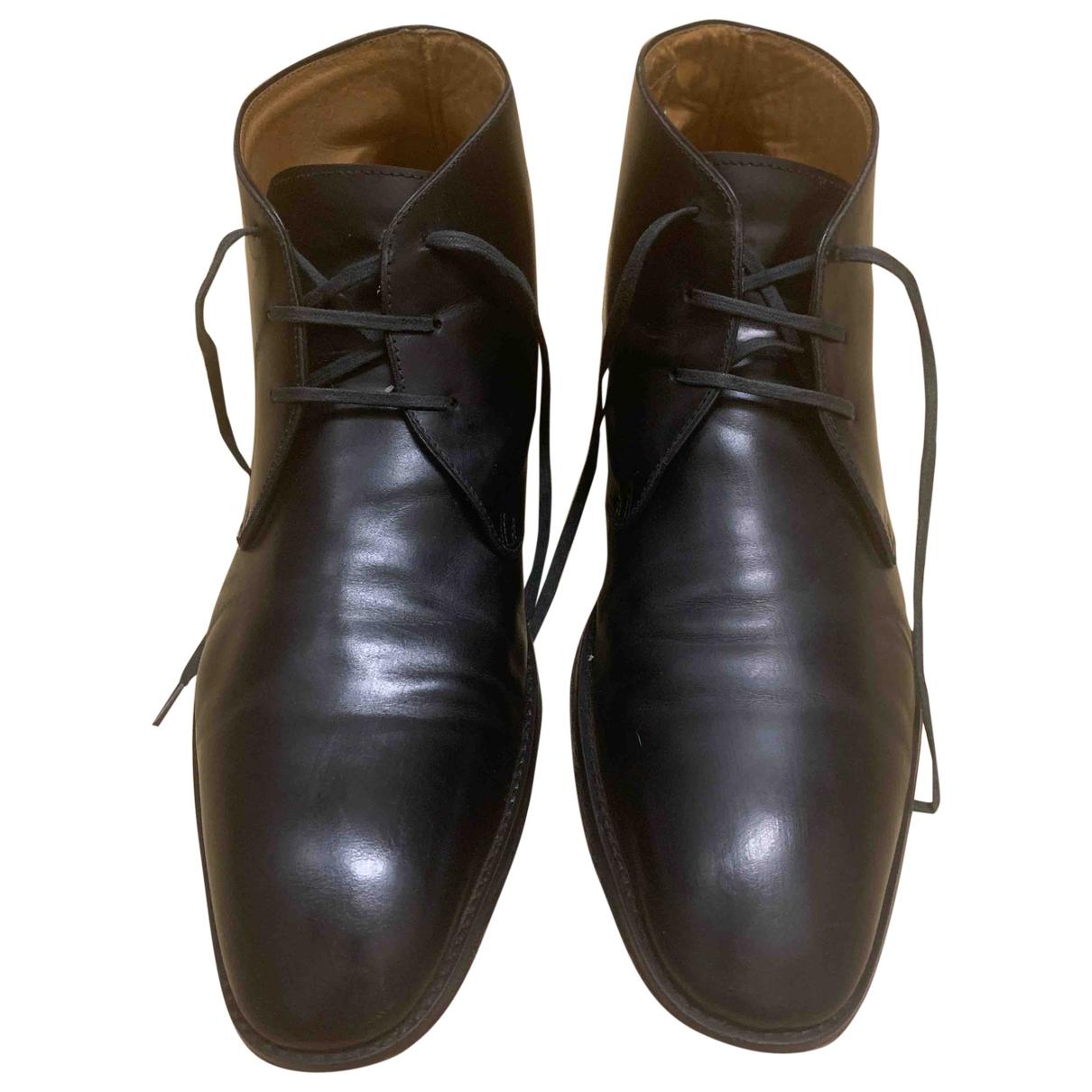 John White \N Black Leather Boots for Men 43 EU