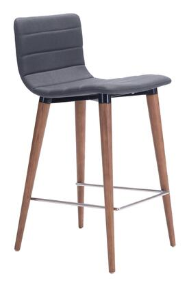 Jericho Collection 100272 Counter Chair (Set of 2) with Tapered Wood Legs  Foot Rest  Walnut Finish  Poly-linen Upholstery in Gray