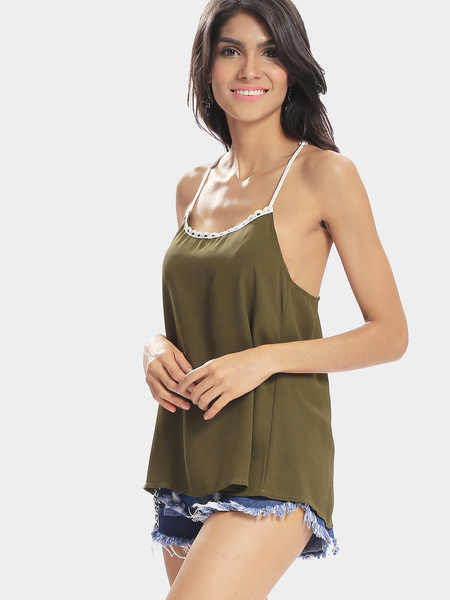 Yoins Green Sexy Solid Color  Crochet Details Camis