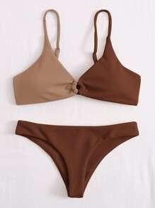 Rib Two Tone Ring Linked Bikini Swimsuit