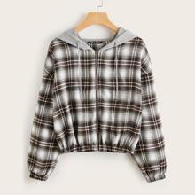 Drop Shoulder Contrast Hooded Plaid Jacket