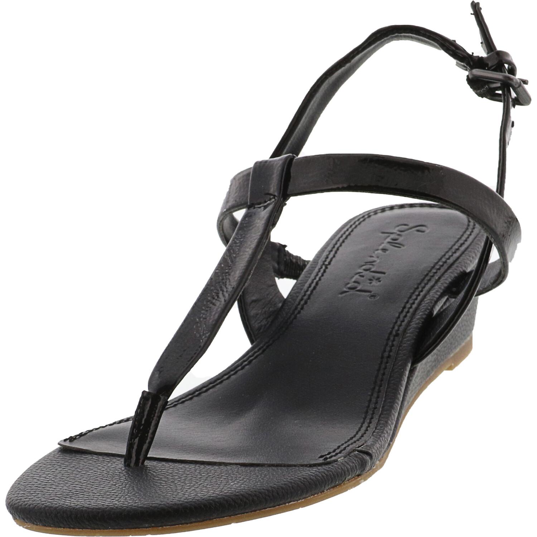 Splendid Women's Avalon Patent Black Leather Wedged Sandal - 8.5M