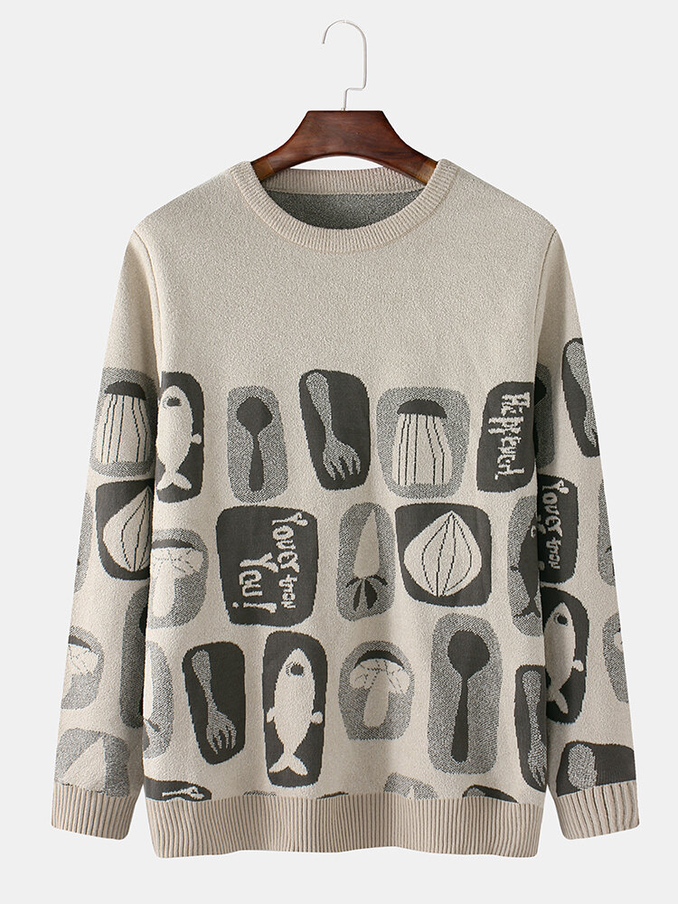 Mens Vintage Spoon Pattern Cotton Crew Neck Leisure Knitted Sweater