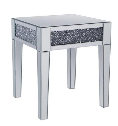 BM195942 Wood and Mirror End Table with Faux Crystals Inlay