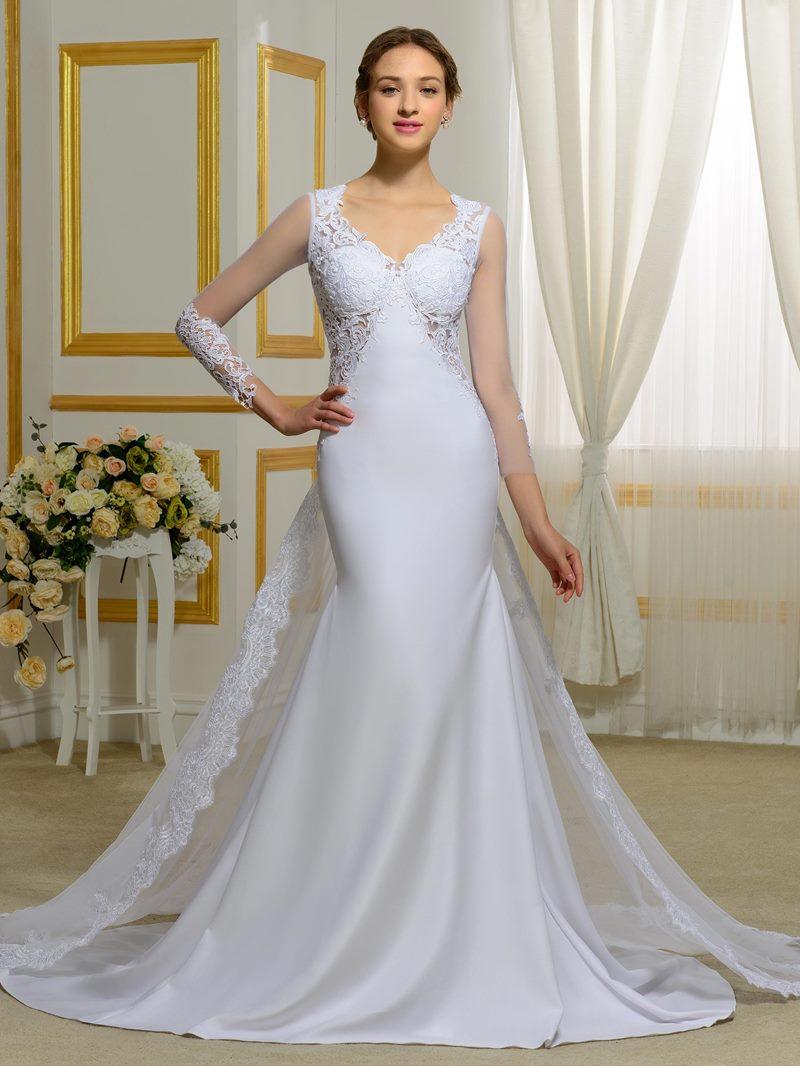 Ericdress Long Sleeves Appliques Backless Mermaid Wedding Dress