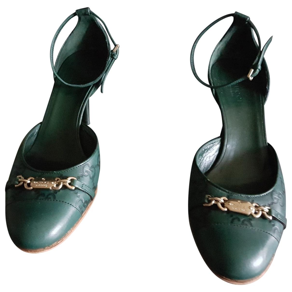 Gucci \N Green Leather Heels for Women 37.5 EU