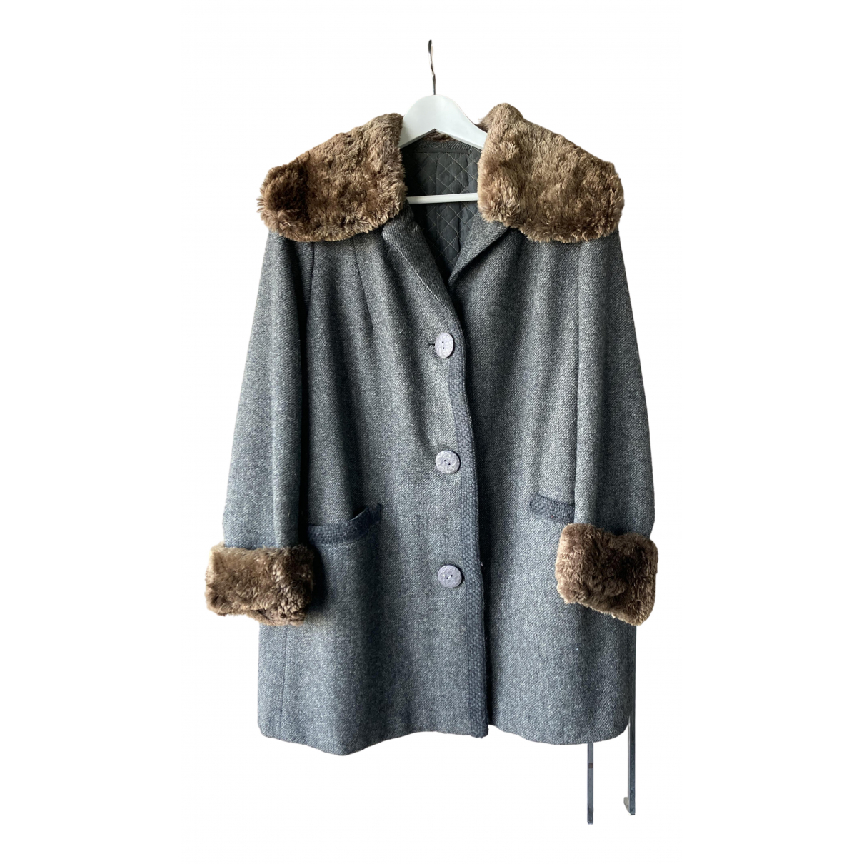 Non Signé / Unsigned N Grey Wool coat for Women 40 IT