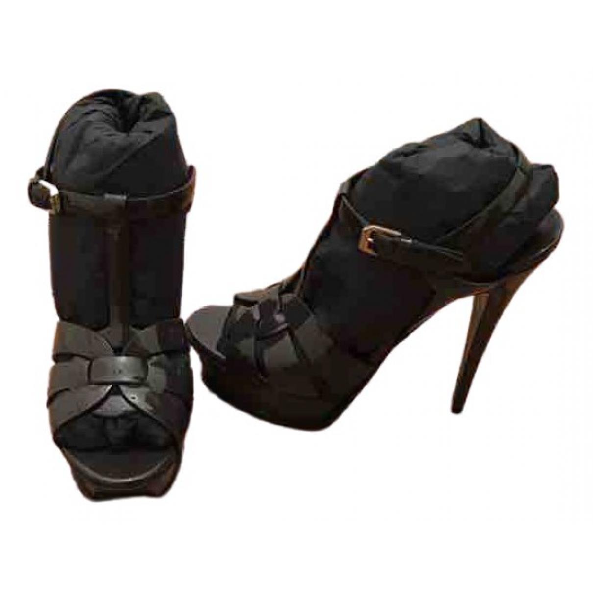Saint Laurent \N Anthracite Patent leather Sandals for Women 38 EU