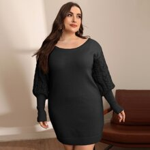 Plus Gigot Sleeve Sweater Dress
